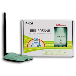 Alfa Network AWUS036NH USB 2.0 Highpower WLAN Adapter and 5dBi antenna